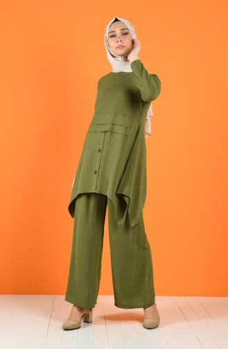 Aerobin Fabric Button Detailed Tunic Trousers Double Suit 5323-03 Light Khaki 5323-03