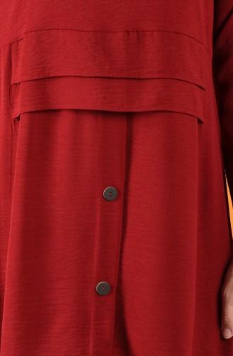 Aerobin Kumaş Düğme Detaylı Tunik Pantolon İkili Takım 5323-06 Bordo