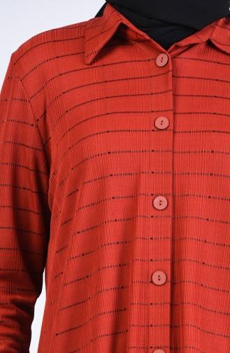 Büyük Beden Gömlek Yaka Çizgili Tunik 1293-01 Kiremit