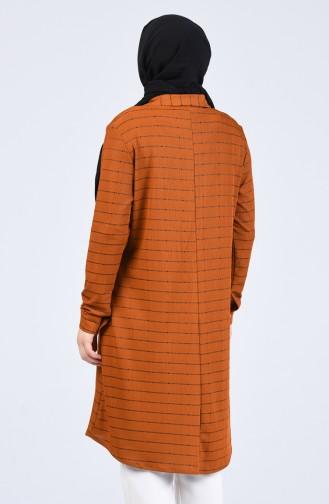 Büyük Beden Gömlek Yaka Çizgili Tunik 1293-02 Taba