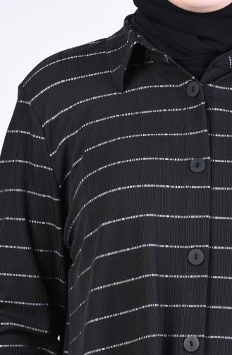 Büyük Beden Gömlek Yaka Çizgili Tunik 1293-03 Siyah