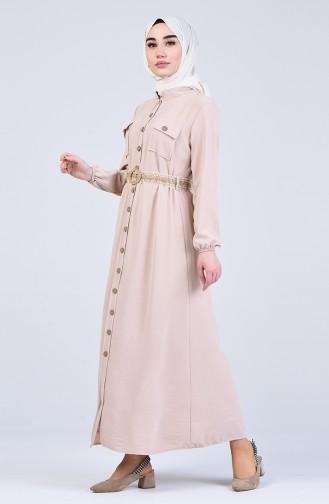 Aerobin Kumaş Boydan Düğmeli Elbise 8016-06 Bej