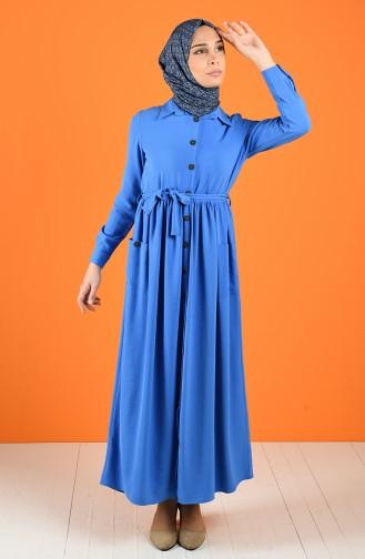 Aerobin Kumaş Boydan Düğmeli Elbise 5628-04 Mavi