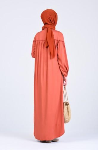 Ziegelrot Hijap Kleider 8039-01