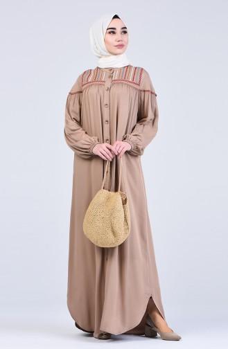 فستان بني مائل للرمادي 8039-03