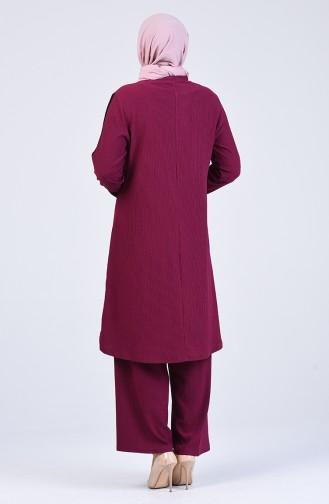 Büyük Beden Garnili Tunik Pantolon İkili Takım 1327-02 Mürdüm