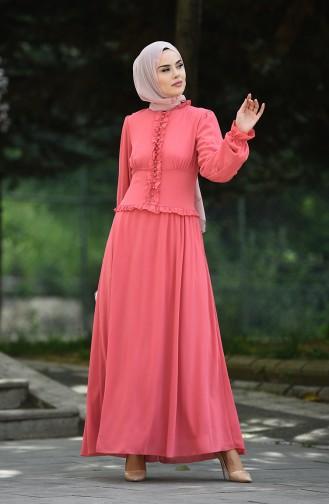 Robe de Soirée à Boutons 8107-05 Rose Pâle 8107-05