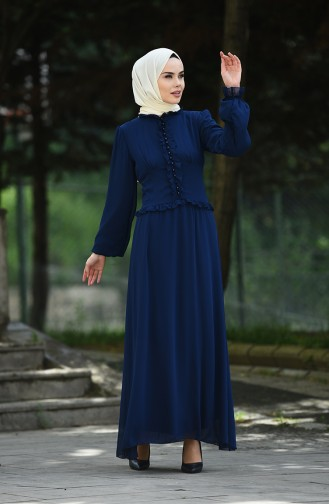 فساتين سهرة بتصميم اسلامي أزرق كحلي 8107-11