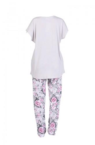 Düğmeli Kısa Kollu Pijama Takım 4010-02 Taş