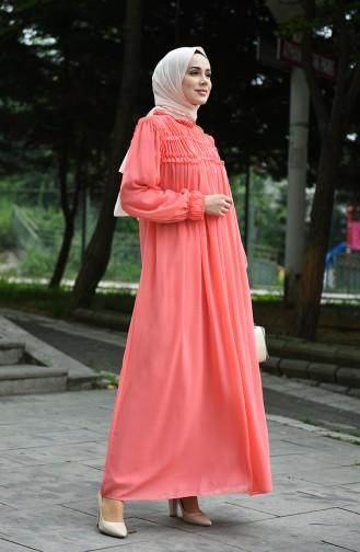 Robe de Soirée Mousseline 8127-03 Saumon 8127-03