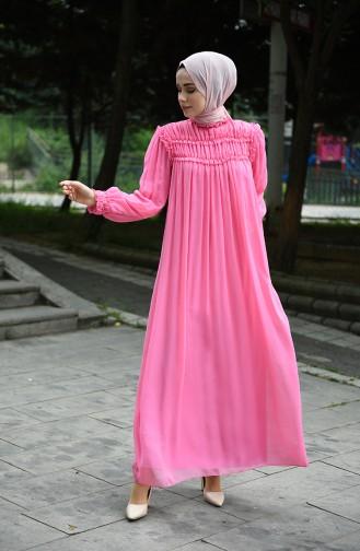 Draped Chiffon Evening Dress Pink 8127-09