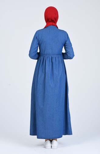 Düğmeli Kot Elbise 5001-01 Lacivert