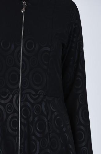Zippered Flared Abaya 1083-01 Black 1083-01