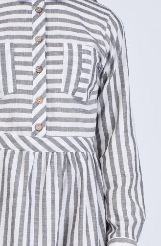 Çizgili Elbise 5090-01 Gri Krem