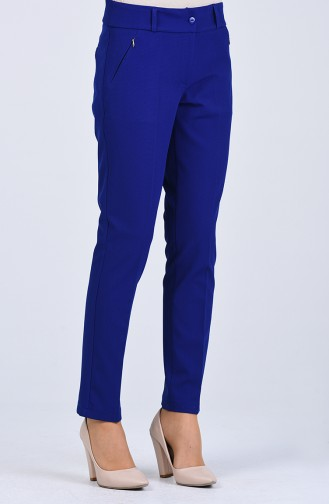 Classic Trousers with Pockets 0107-02 Saxe Blue 0107-02