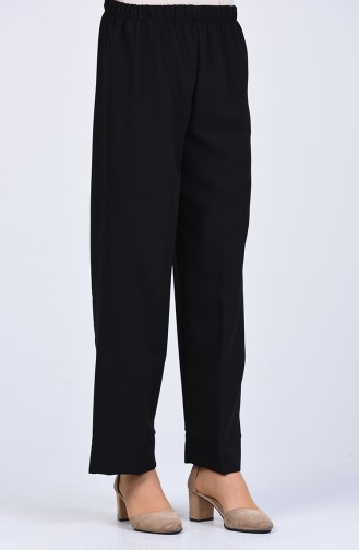 Lastikli Double Paça Pantolon 1985-01 Siyah