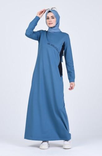 Düğme Detaylı Spor Elbise 9147-05 Petrol