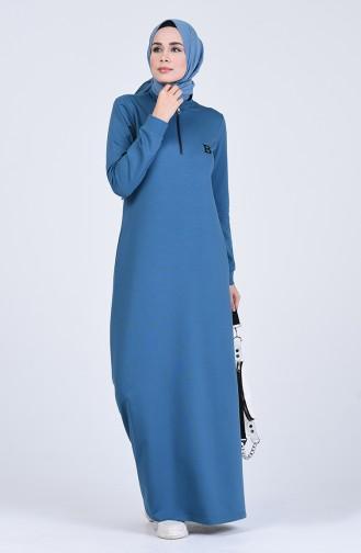 Robe Hijab Pétrole 9187-04