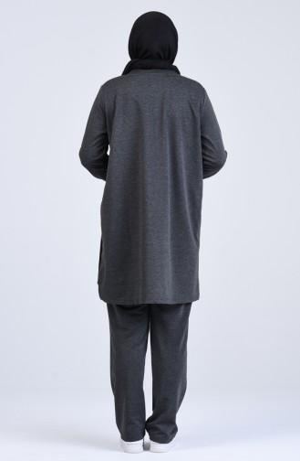 Büyük Beden Şeritli Eşofman Takım 10038-03 Antrasit