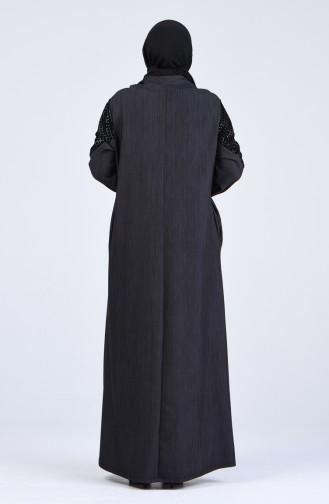 Büyük Beden Garnili Ferace 8003-02 Siyah