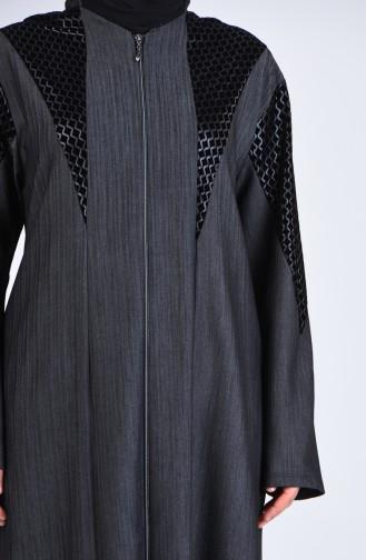 Dark gray Abaya 8003-03