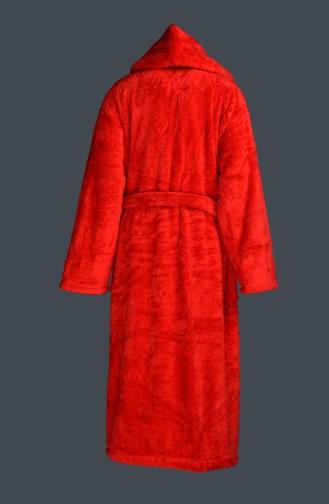 Büyük Beden Kuşaklı Bornoz 2068-01 Kırmızı