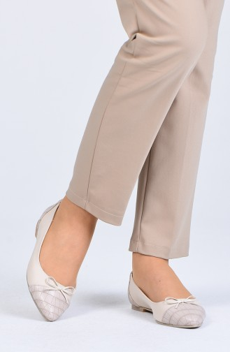 Beige Woman Flat Shoe 1216-03