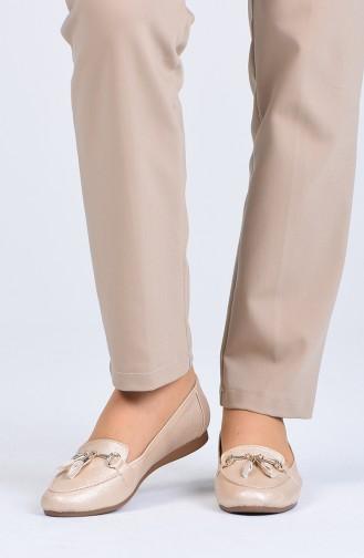 Goldfarbig Damen Ballerinas 9322-01