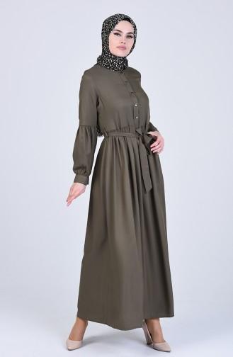 Beli Büzgülü Elbise 3145-01 Haki
