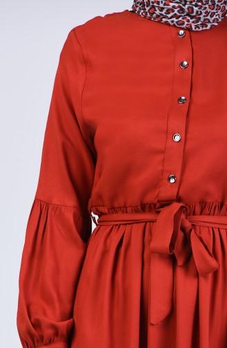 Beli Büzgülü Elbise 3145-04 Kiremit