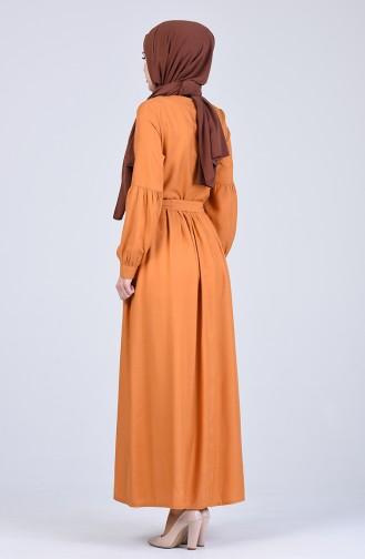 Mustard İslamitische Jurk 3145-05