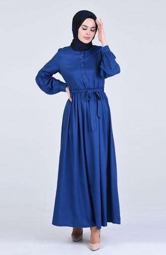 Beli Büzgülü Elbise 3145-06 İndigo