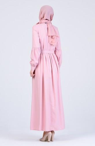 Beli Büzgülü Elbise 3145-07 Pudra