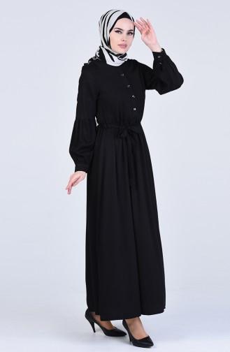 Beli Büzgülü Elbise 3145-08 Siyah