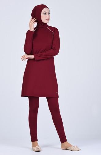 Weinrot Hijab Badeanzug 20115-02