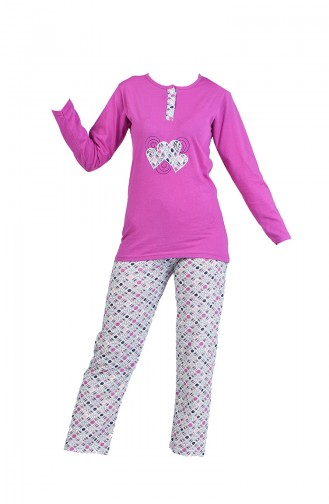 Baskılı Pijama Takım 2600-06 Lila