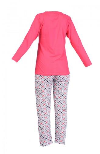 Baskılı Pijama Takım 2600-07 Mercan