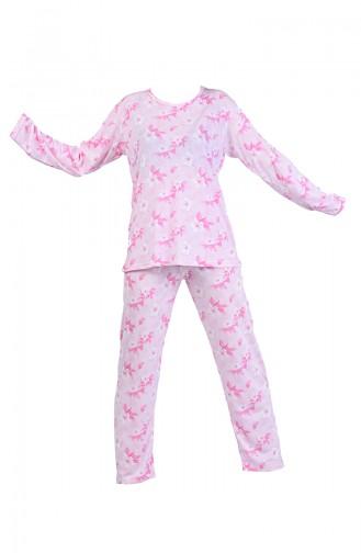 Desenli Uzun Kol Pijama Takım 6000-02 Pembe 6000-02