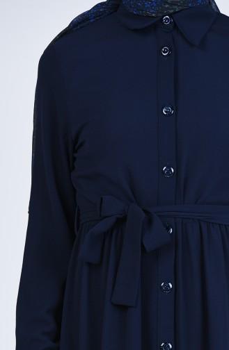 Navy Blue İslamitische Jurk 0006-03