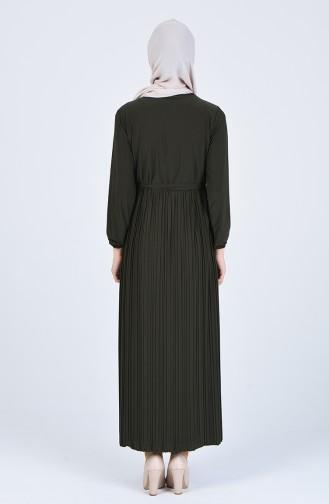 Dantel Detaylı Sandy Elbise 1011-02 Haki