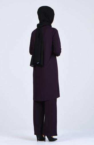 Payet Detaylı Tunik Pantolon İkili Takım 0042-03 Mor