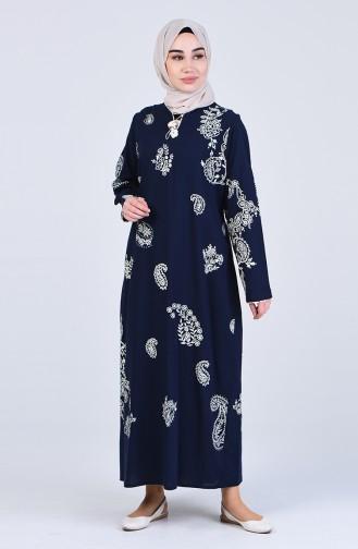 Gemustertes Kleid aus Şile-Stoff 0044-03 Dunkelblau 0044-03