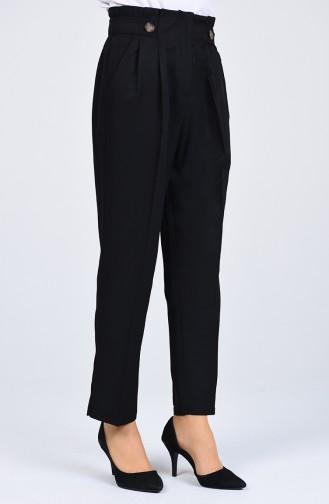 Straight Leg Pants with Pockets 1122-01 Black 1122-01