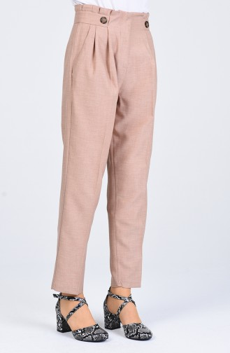 Straight Leg Trousers with Pockets 1122-03 Beige 1122-03