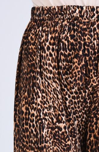 Leopard Gemusterte Hose aus Viskose 8063-01 Braun 8063-01