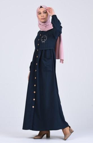 Boydan Düğmeli Kot Elbise 7043-01 Koyu Lacivert