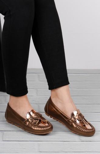 حذاء مسطح ذهبي 0144-06