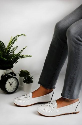 حذاء مسطح أبيض 0144-10