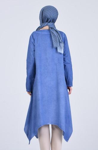 Şile Bezi Cepli Tunik 4545-04 Mavi