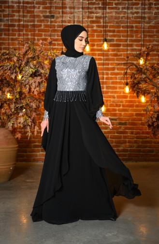 Payetli Şifon Abiye Elbise 4717-02 Siyah